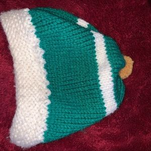 Green & White Knitted Hat